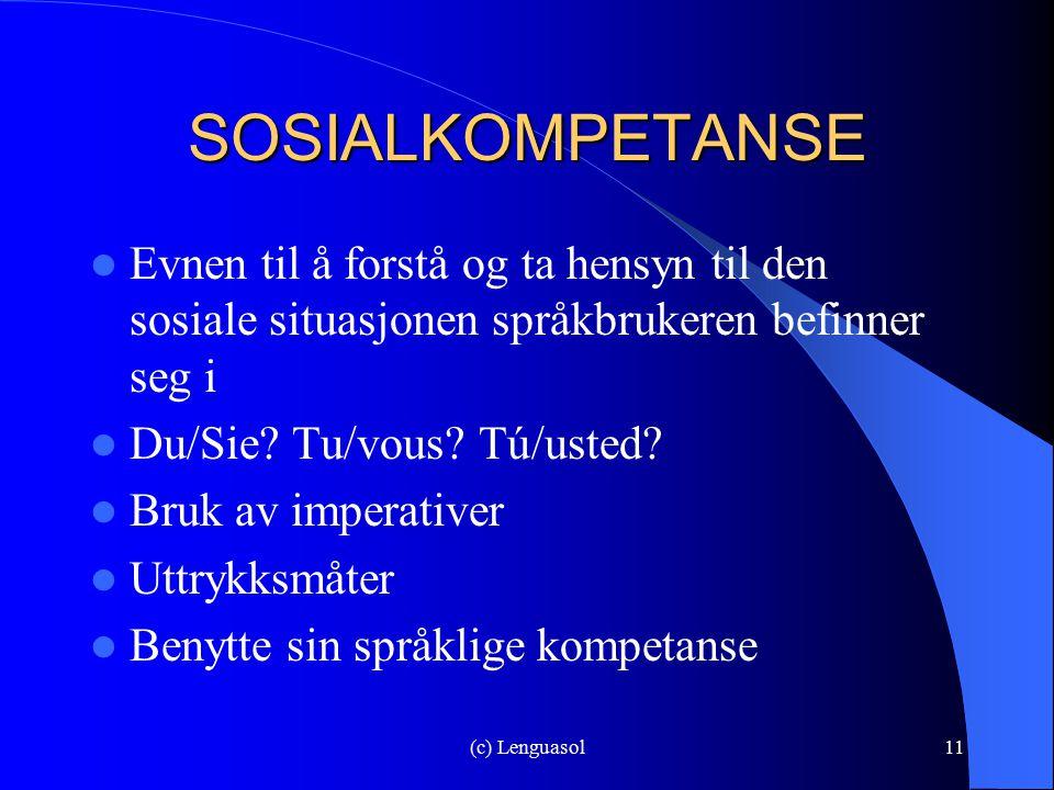 (c) Lenguasol11 SOSIALKOMPETANSE Evnen til å forstå og ta hensyn til den sosiale situasjonen språkbrukeren befinner seg i Du/Sie? Tu/vous? Tú/usted? B