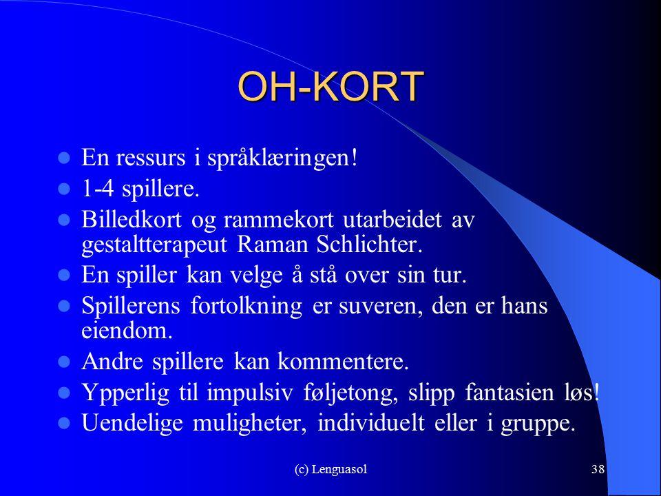 (c) Lenguasol38 OH-KORT En ressurs i språklæringen! 1-4 spillere. Billedkort og rammekort utarbeidet av gestaltterapeut Raman Schlichter. En spiller k