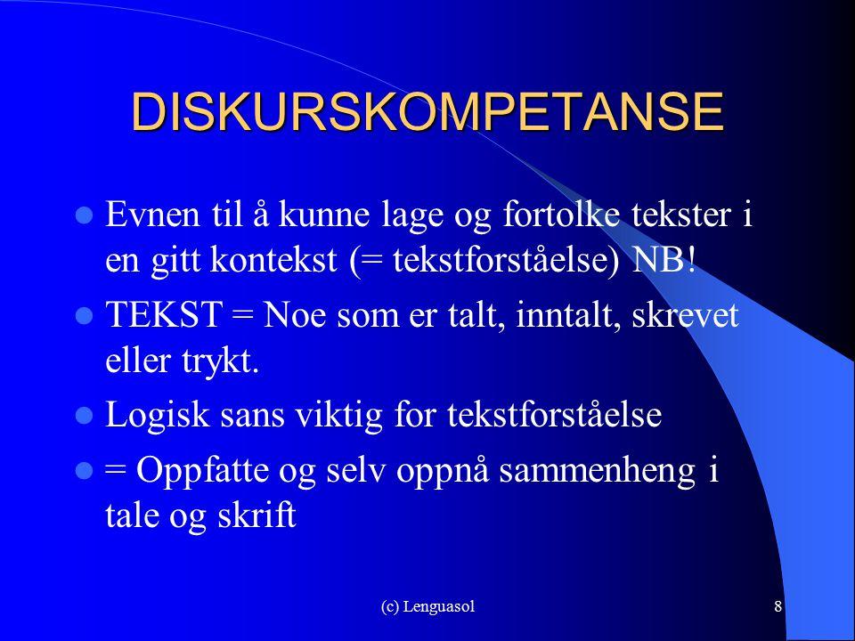 (c) Lenguasol8 DISKURSKOMPETANSE Evnen til å kunne lage og fortolke tekster i en gitt kontekst (= tekstforståelse) NB! TEKST = Noe som er talt, inntal