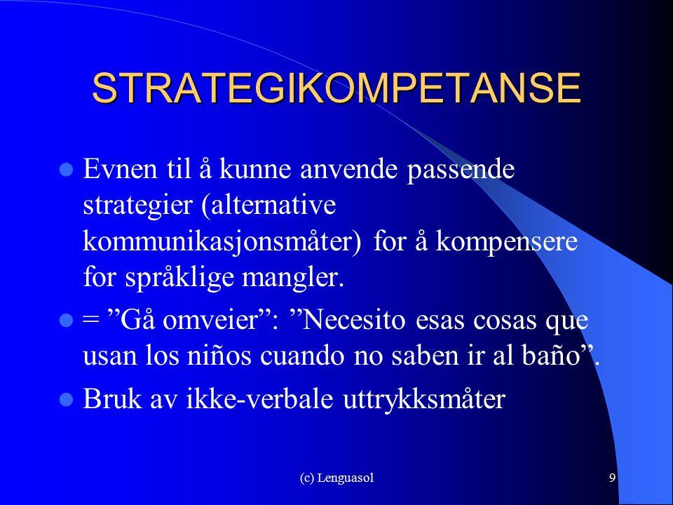 (c) Lenguasol9 STRATEGIKOMPETANSE Evnen til å kunne anvende passende strategier (alternative kommunikasjonsmåter) for å kompensere for språklige mangl