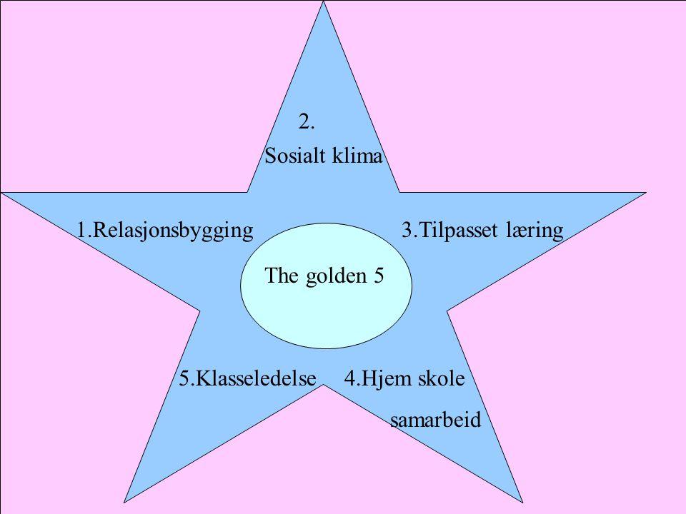 The golden 5 3.Tilpasset læring 4.Hjem skole samarbeid 5.Klasseledelse 1.Relasjonsbygging 2.