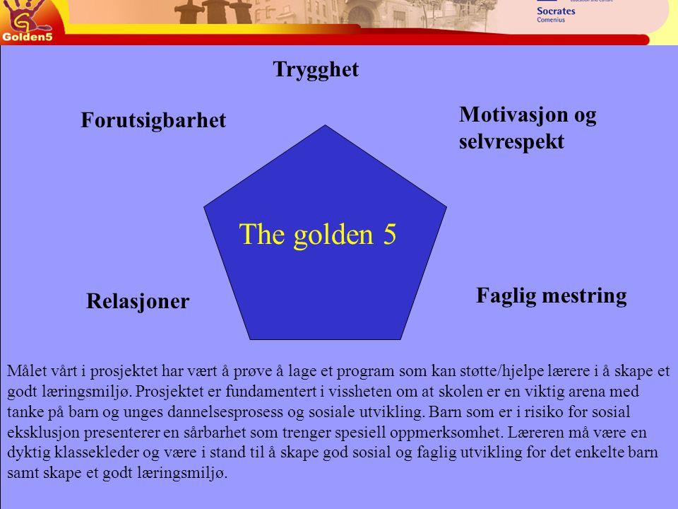 Trygghet Faglig mestring Relasjoner Motivasjon og selvrespekt Forutsigbarhet The golden 5 Målet vårt i prosjektet har vært å prøve å lage et program som kan støtte/hjelpe lærere i å skape et godt læringsmiljø.