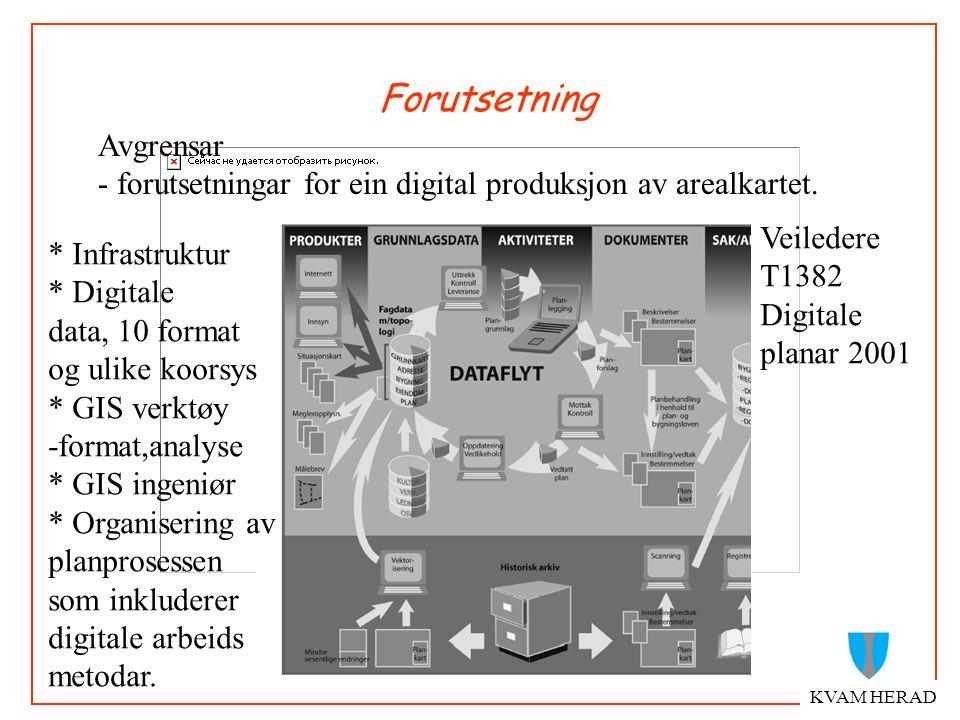 Forutsetning KVAM HERAD Avgrensar - forutsetningar for ein digital produksjon av arealkartet.