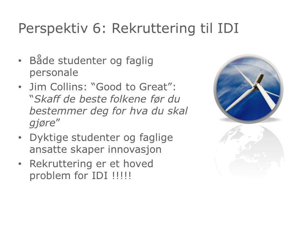 Både studenter og faglig personale Jim Collins: Good to Great : Skaff de beste folkene før du bestemmer deg for hva du skal gjøre Dyktige studenter og faglige ansatte skaper innovasjon Rekruttering er et hoved problem for IDI !!!!.