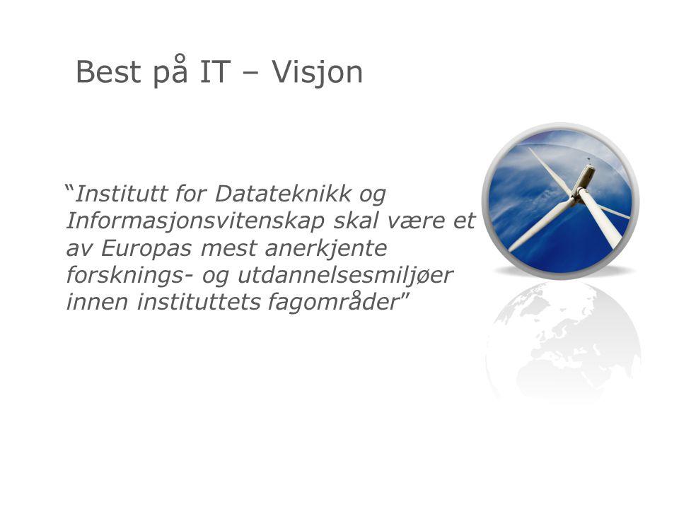 Institutt for Datateknikk og Informasjonsvitenskap skal være et av Europas mest anerkjente forsknings- og utdannelsesmiljøer innen instituttets fagområder Best på IT – Visjon
