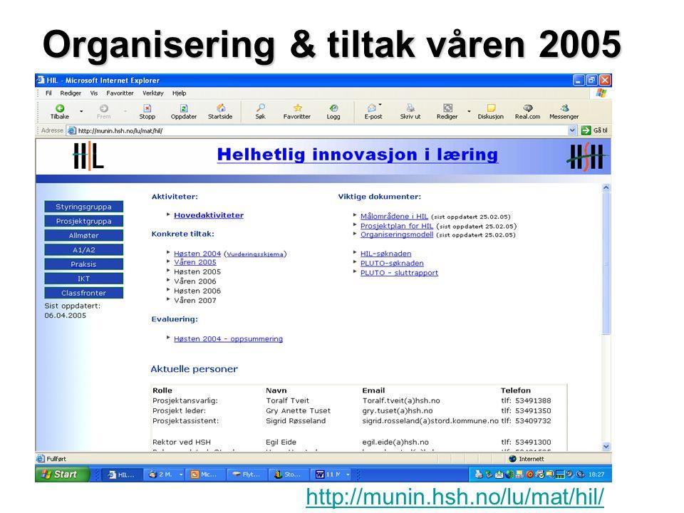 http://munin.hsh.no/lu/mat/hil/ Organisering & tiltak våren 2005