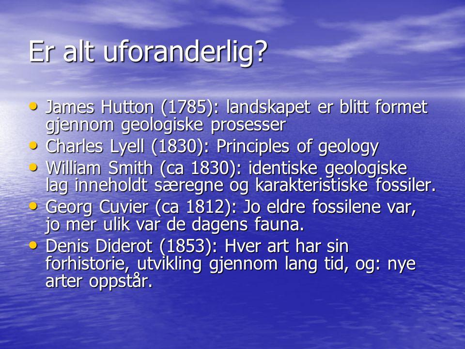 Er alt uforanderlig? James Hutton (1785): landskapet er blitt formet gjennom geologiske prosesser James Hutton (1785): landskapet er blitt formet gjen