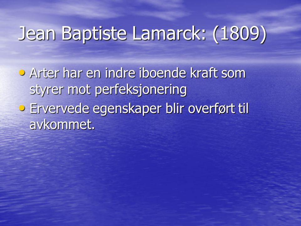 Jean Baptiste Lamarck: (1809) Arter har en indre iboende kraft som styrer mot perfeksjonering Arter har en indre iboende kraft som styrer mot perfeksj