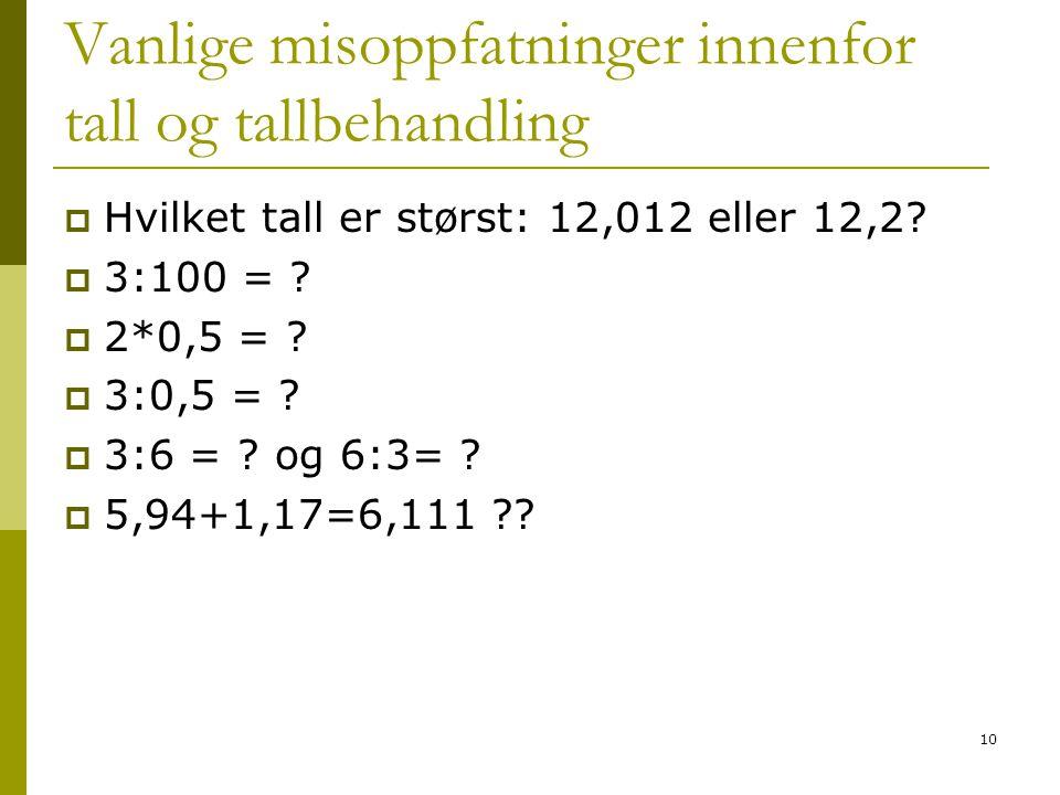 10 Vanlige misoppfatninger innenfor tall og tallbehandling  Hvilket tall er størst: 12,012 eller 12,2.