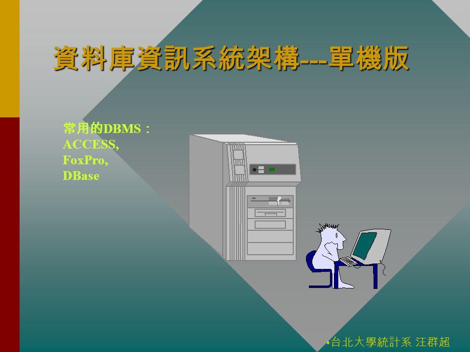 台北大學統計系 汪群超 資料庫資訊系統架構 --- 單機版 常用的 DBMS : ACCESS, FoxPro, DBase