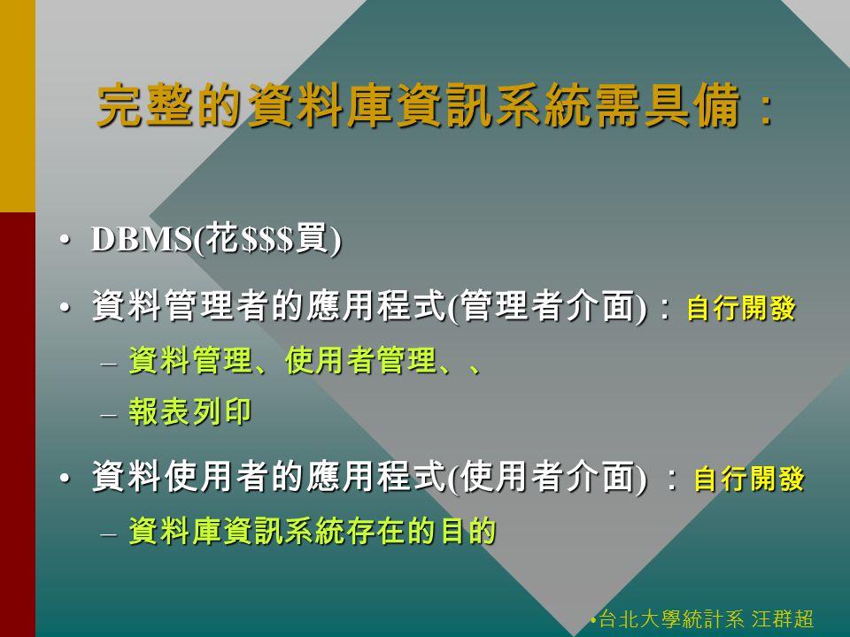 台北大學統計系 汪群超 完整的資料庫資訊系統需具備: DBMS( 花 $$$ 買 )DBMS( 花 $$$ 買 ) 資料管理者的應用程式 ( 管理者介面 ) : 自行開發 資料管理者的應用程式 ( 管理者介面 ) : 自行開發 – 資料管理、使用者管理、、 – 報表列印 資料使用者的應用程式 ( 使用者介面 ) : 自行開發 資料使用者的應用程式 ( 使用者介面 ) : 自行開發 – 資料庫資訊系統存在的目的