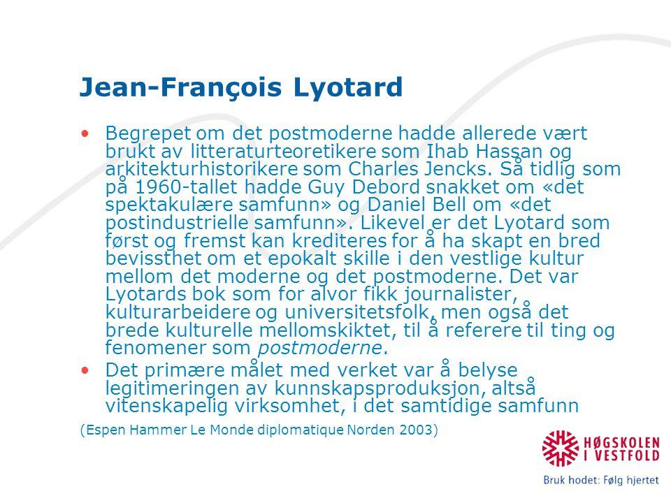 Jean-François Lyotard Begrepet om det postmoderne hadde allerede vært brukt av litteraturteoretikere som Ihab Hassan og arkitekturhistorikere som Charles Jencks.