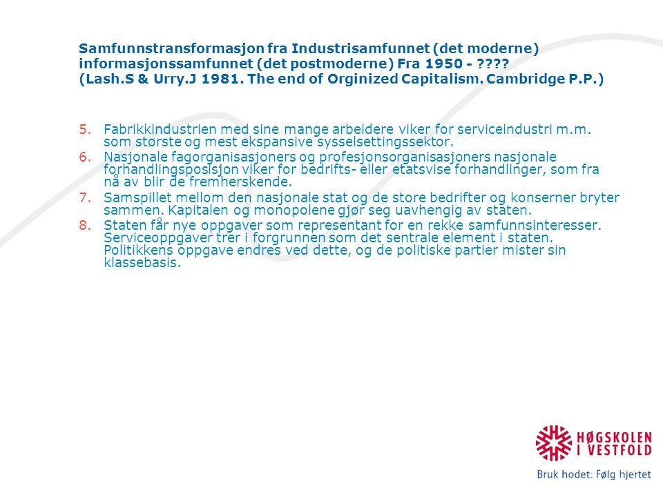 Samfunnstransformasjon fra Industrisamfunnet (det moderne) informasjonssamfunnet (det postmoderne) Fra 1950 - .