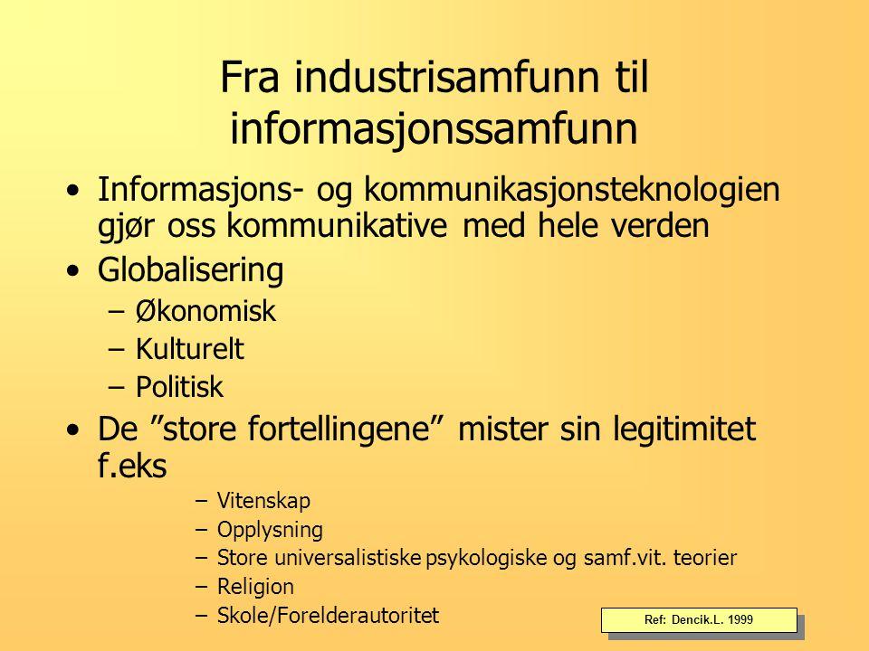 Fra industrisamfunn til informasjonssamfunn Mediene styrer det offentlig rom Fakta og fiksjon.