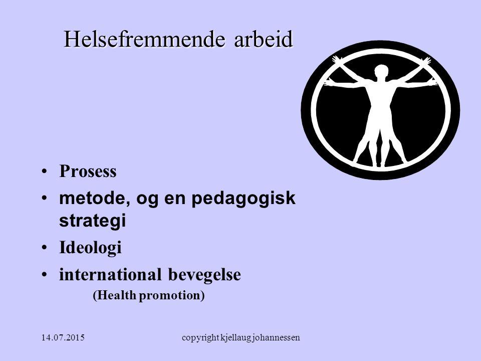 14.07.2015copyright kjellaug johannessen Helsefremmende arbeid Prosess metode, og en pedagogisk strategi Ideologi international bevegelse (Health promotion)