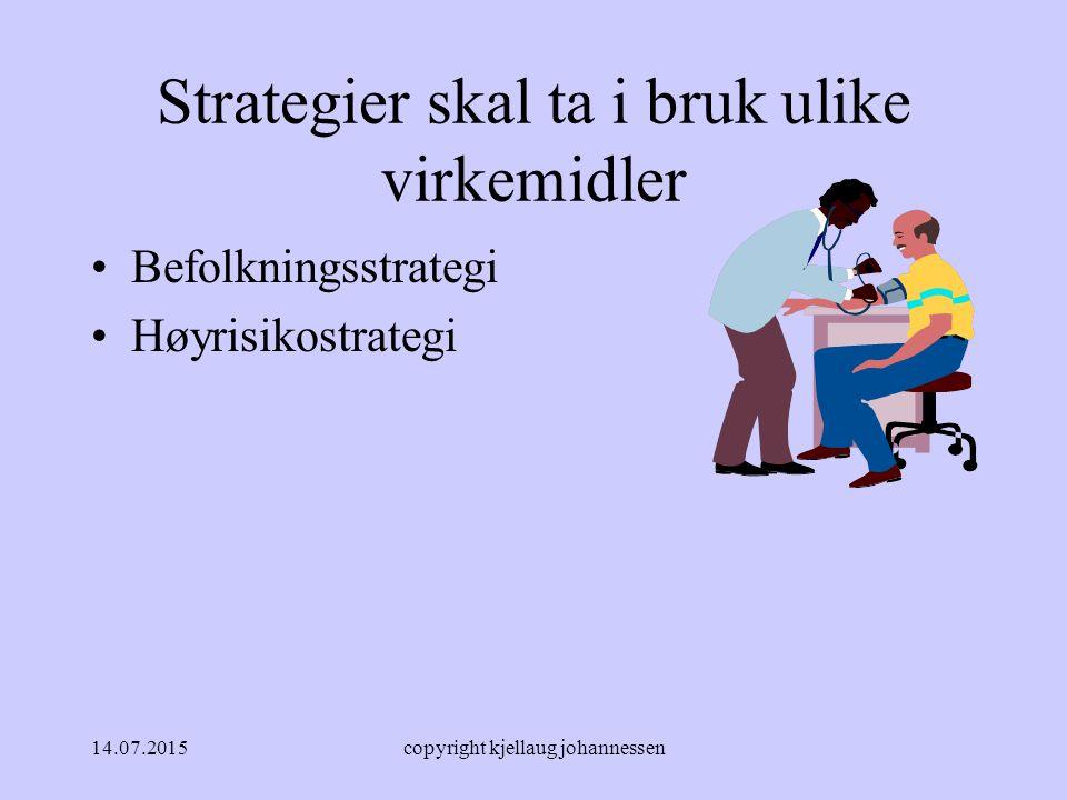 14.07.2015copyright kjellaug johannessen Strategier skal ta i bruk ulike virkemidler Befolkningsstrategi Høyrisikostrategi