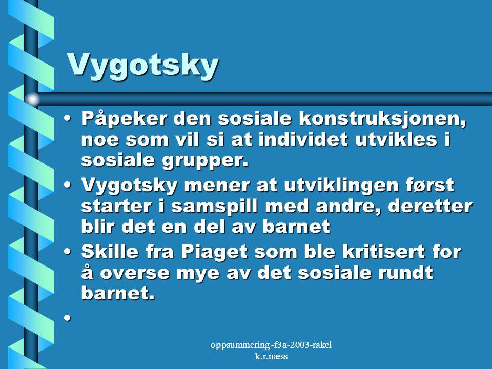 oppsummering -f3a-2003-rakel k.r.næss Vygotsky Påpeker den sosiale konstruksjonen, noe som vil si at individet utvikles i sosiale grupper.Påpeker den sosiale konstruksjonen, noe som vil si at individet utvikles i sosiale grupper.