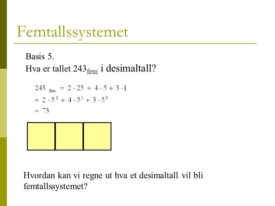 Femtallssystemet Basis 5.Hva er tallet 243 fem i desimaltall.
