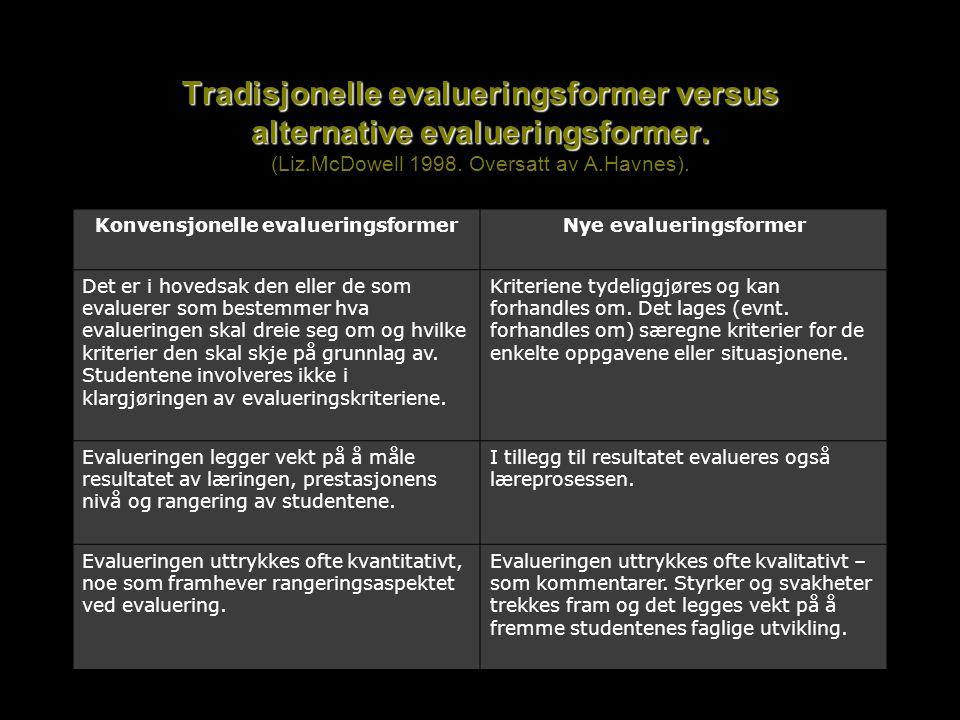 Tradisjonelle evalueringsformer versus alternative evalueringsformer. Tradisjonelle evalueringsformer versus alternative evalueringsformer. (Liz.McDow