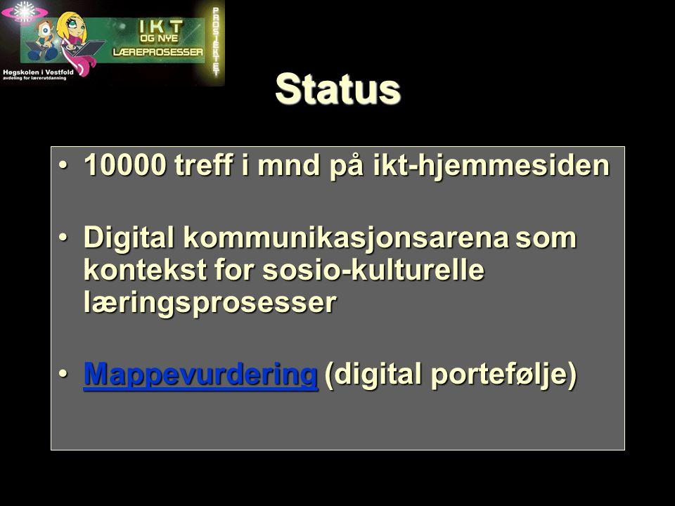 Status 10000 treff i mnd på ikt-hjemmesiden10000 treff i mnd på ikt-hjemmesiden Digital kommunikasjonsarena som kontekst for sosio-kulturelle læringsp