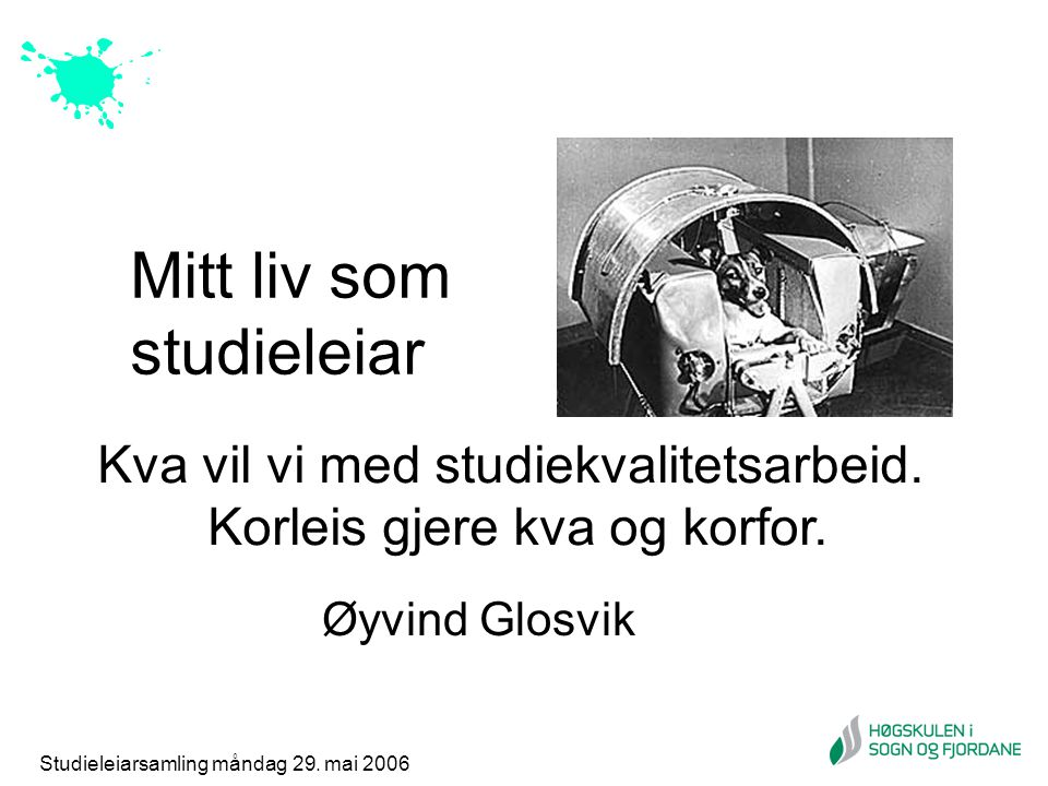 Studieleiarsamling måndag 29. mai 2006 Mitt liv som studieleiar Øyvind Glosvik Kva vil vi med studiekvalitetsarbeid. Korleis gjere kva og korfor.