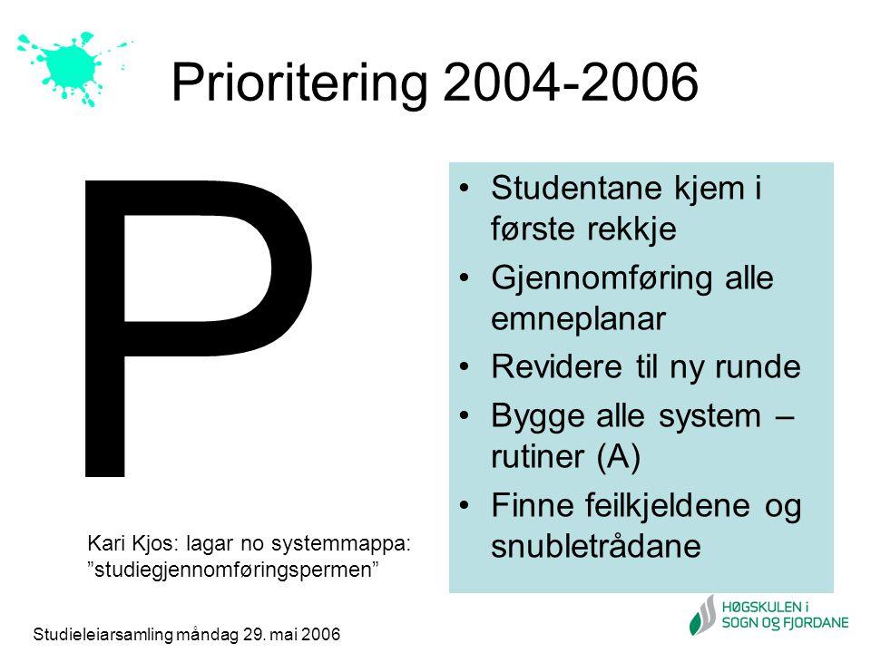 Studieleiarsamling måndag 29. mai 2006 Prioritering 2004-2006 Studentane kjem i første rekkje Gjennomføring alle emneplanar Revidere til ny runde Bygg