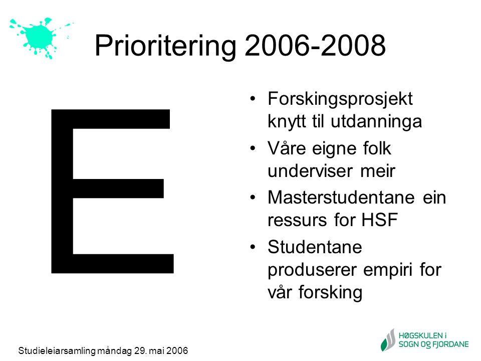 Studieleiarsamling måndag 29. mai 2006 Prioritering 2006-2008 Forskingsprosjekt knytt til utdanninga Våre eigne folk underviser meir Masterstudentane