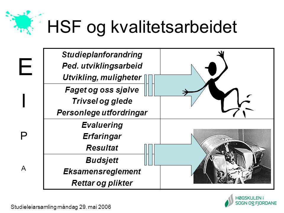 Studieleiarsamling måndag 29. mai 2006 HSF og kvalitetsarbeidet Studieplanforandring Ped. utviklingsarbeid Utvikling, muligheter Faget og oss sjølve T