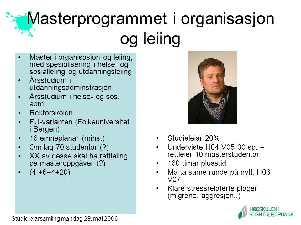 Studieleiarsamling måndag 29. mai 2006 Masterprogrammet i organisasjon og leiing Master i organisasjon og leiing, med spesialisering i helse- og sosia