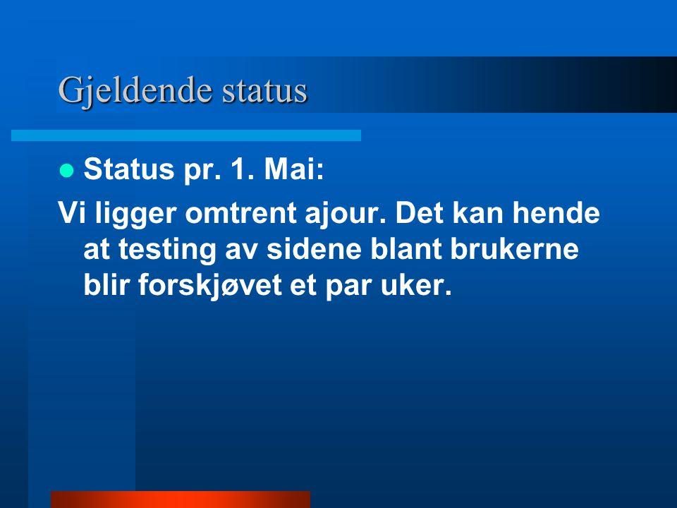 Gjeldende status Status pr. 1. Mai: Vi ligger omtrent ajour. Det kan hende at testing av sidene blant brukerne blir forskjøvet et par uker.