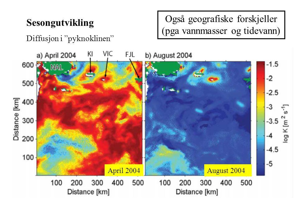 Også geografiske forskjeller (pga vannmasser og tidevann) Sesongutvikling Diffusjon i pyknoklinen August 2004 April 2004