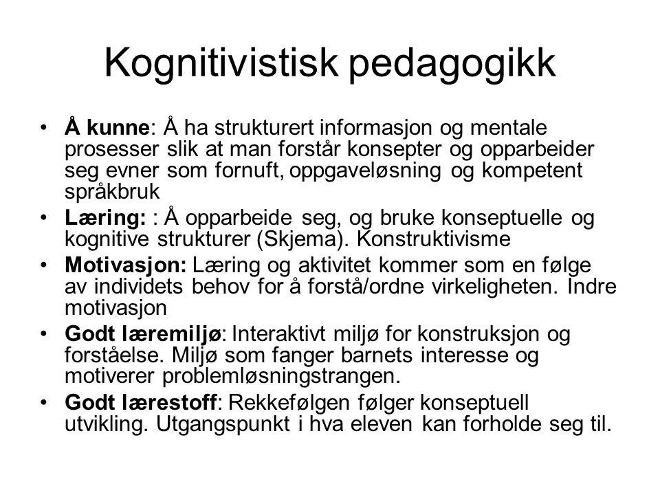 Kognitivistisk pedagogikk Å kunne: Å ha strukturert informasjon og mentale prosesser slik at man forstår konsepter og opparbeider seg evner som fornuf