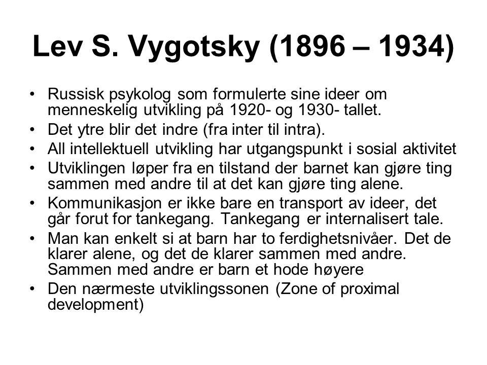 Lev S. Vygotsky (1896 – 1934) Russisk psykolog som formulerte sine ideer om menneskelig utvikling på 1920- og 1930- tallet. Det ytre blir det indre (f