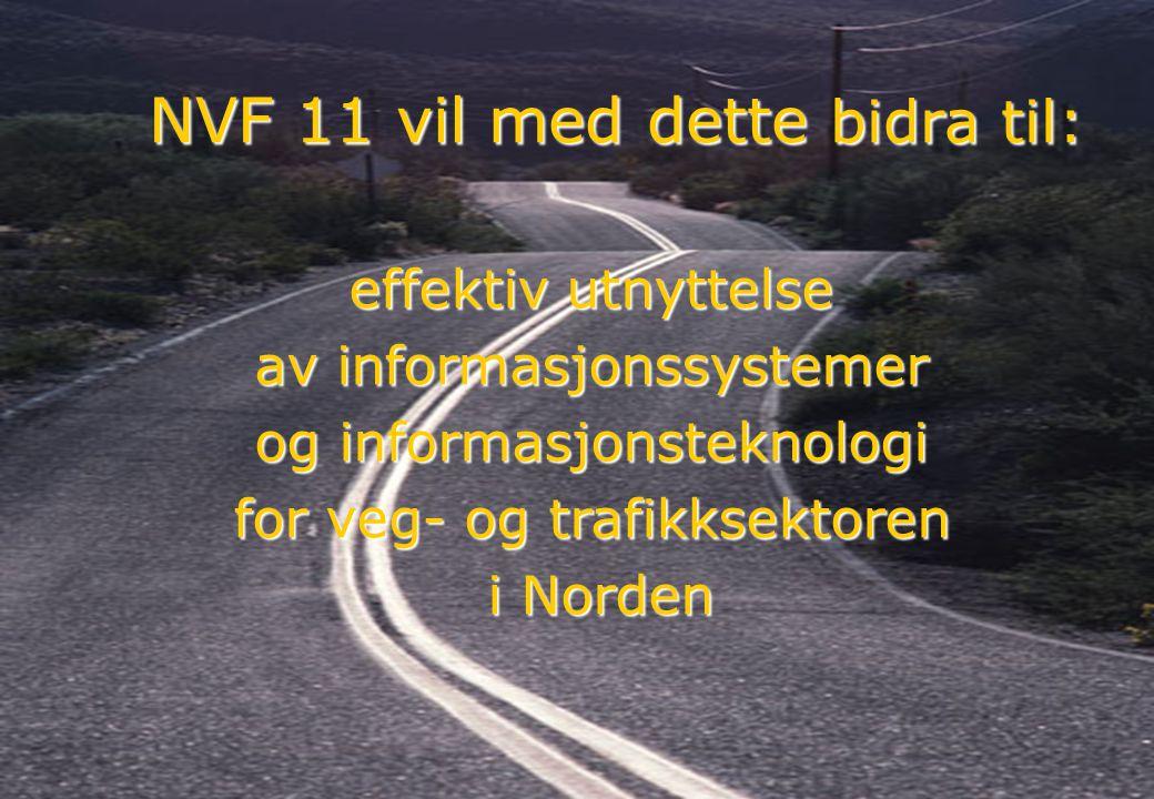 Rev 2003 Nordisk Vejteknisk Forbund NVF-11: Informationsteknologi 18 effektiv utnyttelse av informasjonssystemer og informasjonsteknologi for veg- og trafikksektoren i Norden i Norden NVF 11 vil med dette bidra til: