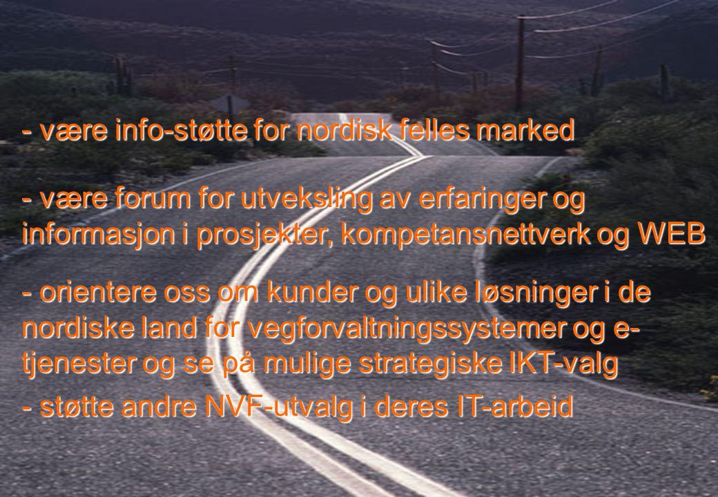 Rev 2003 Nordisk Vejteknisk Forbund NVF-11: Informationsteknologi 3 - være info-støtte for nordisk felles marked - orientere oss om kunder og ulike løsninger i de nordiske land for vegforvaltningssystemer og e- tjenester og se på mulige strategiske IKT-valg - støtte andre NVF-utvalg i deres IT-arbeid - være forum for utveksling av erfaringer og informasjon i prosjekter, kompetansnettverk og WEB