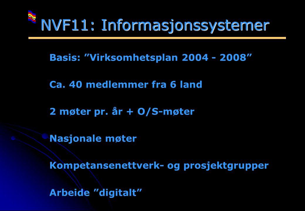 """Rev 2003 Nordisk Vejteknisk Forbund NVF-11: Informationsteknologi 4 NVF11: Informasjonssystemer Basis: """"Virksomhetsplan 2004 - 2008"""" Ca. 40 medlemmer"""