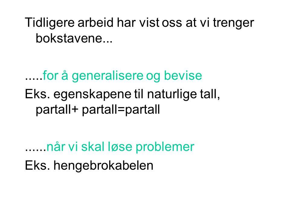 Tidligere arbeid har vist oss at vi trenger bokstavene........for å generalisere og bevise Eks.