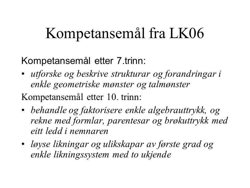 Kompetansemål fra LK06 Kompetansemål etter 7.trinn: utforske og beskrive strukturar og forandringar i enkle geometriske mønster og talmønster Kompetansemål etter 10.