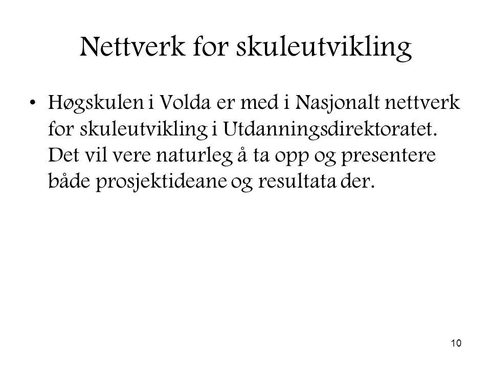 10 Nettverk for skuleutvikling Høgskulen i Volda er med i Nasjonalt nettverk for skuleutvikling i Utdanningsdirektoratet.