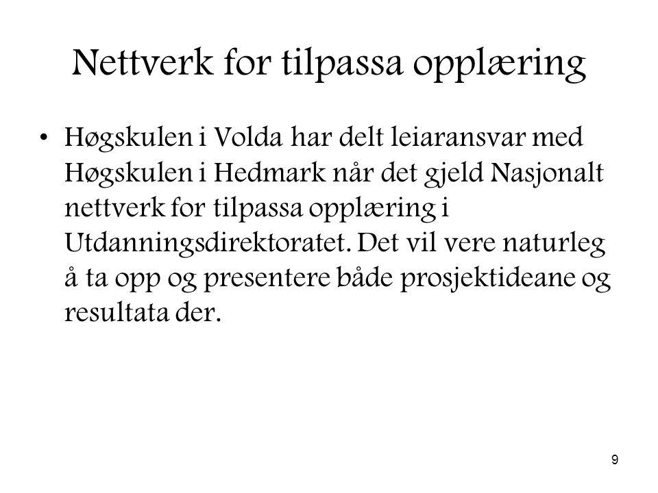 9 Nettverk for tilpassa opplæring Høgskulen i Volda har delt leiaransvar med Høgskulen i Hedmark når det gjeld Nasjonalt nettverk for tilpassa opplæring i Utdanningsdirektoratet.