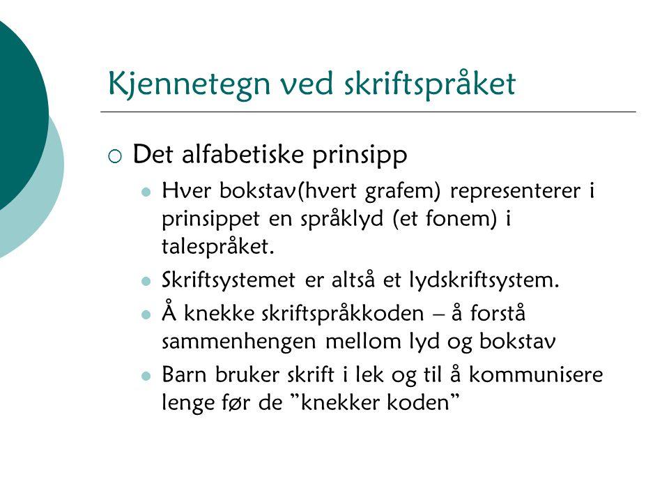 Kjennetegn ved skriftspråket  Det alfabetiske prinsipp Hver bokstav(hvert grafem) representerer i prinsippet en språklyd (et fonem) i talespråket. Sk