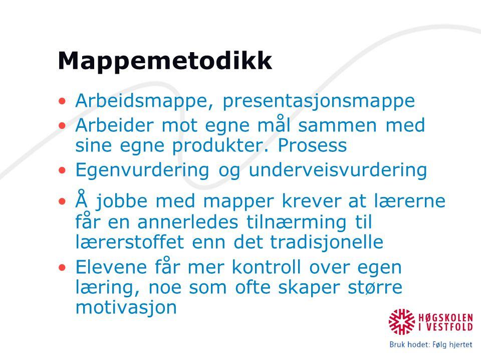 Mappemetodikk Arbeidsmappe, presentasjonsmappe Arbeider mot egne mål sammen med sine egne produkter. Prosess Egenvurdering og underveisvurdering Å job