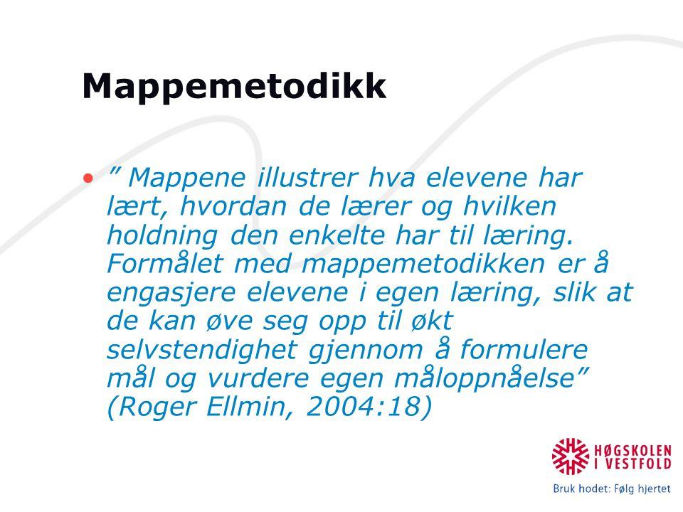 """Mappemetodikk """" Mappene illustrer hva elevene har lært, hvordan de lærer og hvilken holdning den enkelte har til læring. Formålet med mappemetodikken"""