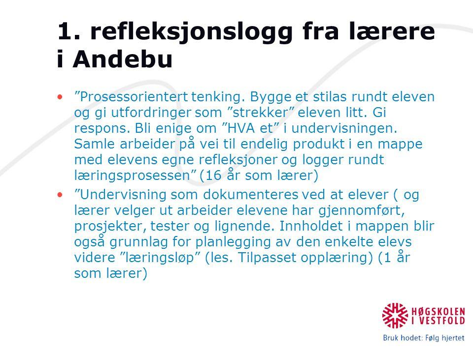 1. refleksjonslogg fra lærere i Andebu Prosessorientert tenking.