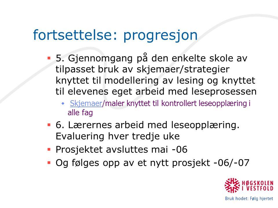 fortsettelse: progresjon  5. Gjennomgang på den enkelte skole av tilpasset bruk av skjemaer/strategier knyttet til modellering av lesing og knyttet t