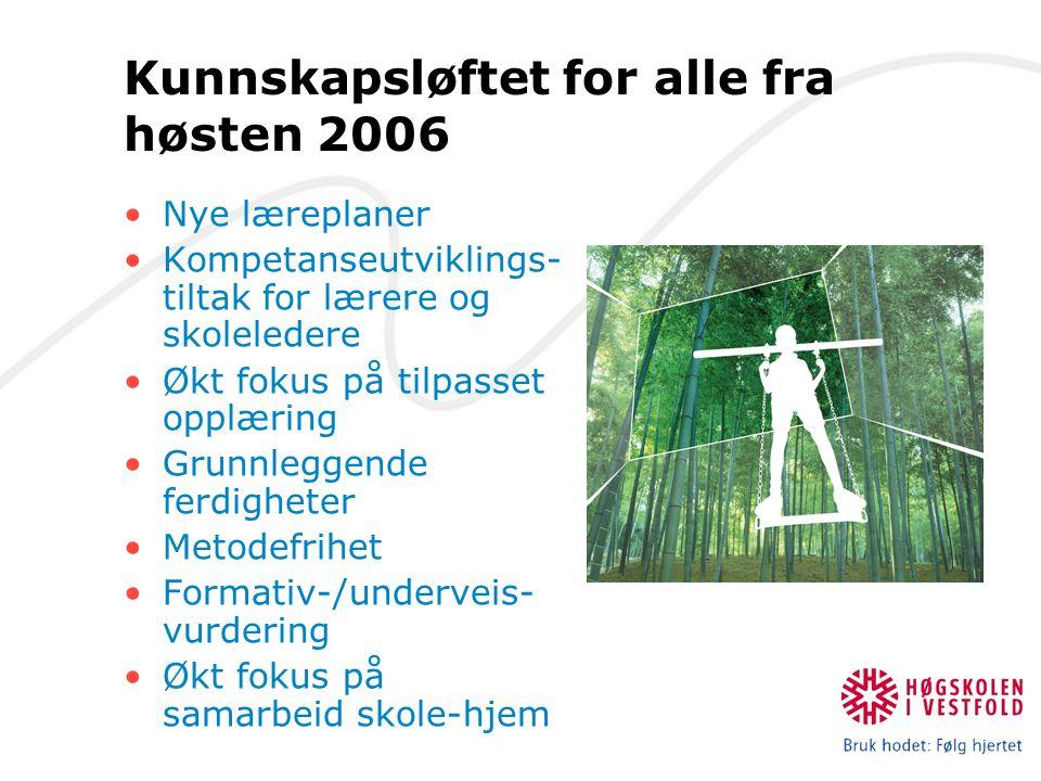 Kunnskapsløftet for alle fra høsten 2006 Nye læreplaner Kompetanseutviklings- tiltak for lærere og skoleledere Økt fokus på tilpasset opplæring Grunnl