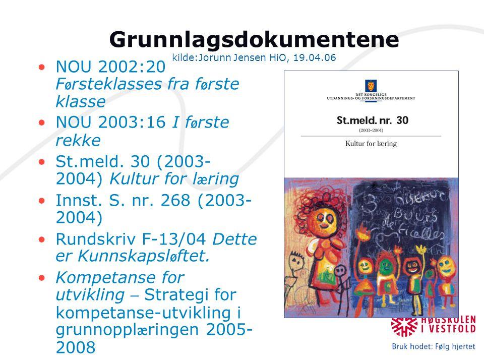 Grunnlagsdokumentene kilde:Jorunn Jensen HiO, 19.04.06 NOU 2002:20 F ø rsteklasses fra f ø rste klasse NOU 2003:16 I f ø rste rekke St.meld. 30 (2003-