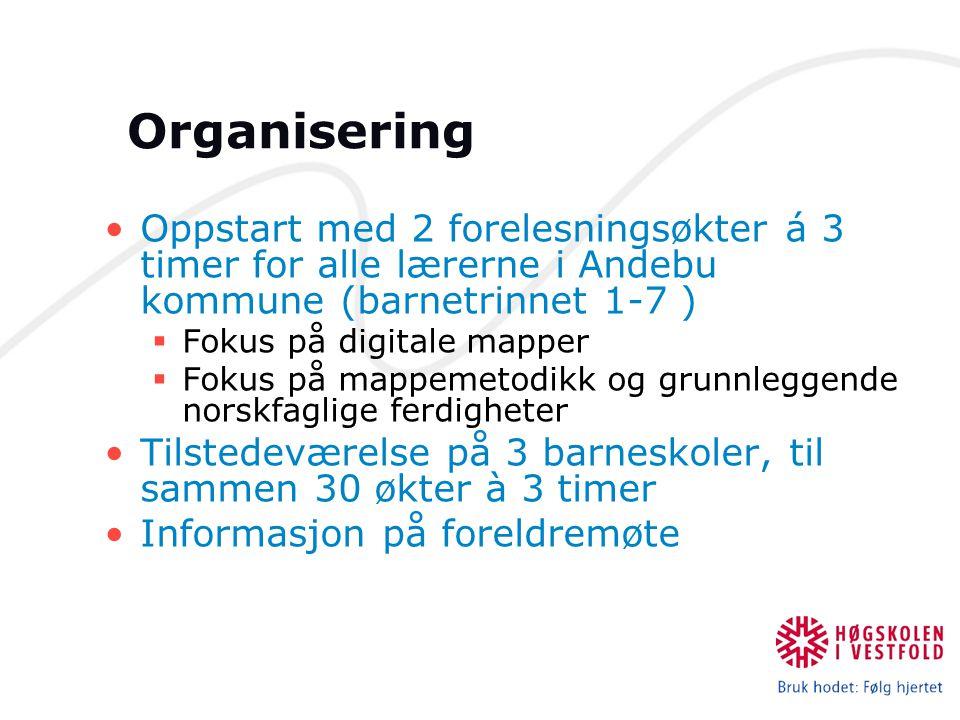 Organisering Oppstart med 2 forelesningsøkter á 3 timer for alle lærerne i Andebu kommune (barnetrinnet 1-7 )  Fokus på digitale mapper  Fokus på ma