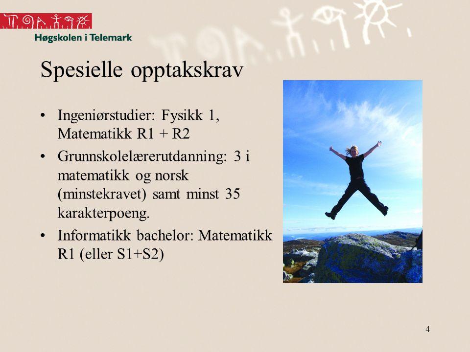4 Spesielle opptakskrav Ingeniørstudier: Fysikk 1, Matematikk R1 + R2 Grunnskolelærerutdanning: 3 i matematikk og norsk (minstekravet) samt minst 35 karakterpoeng.