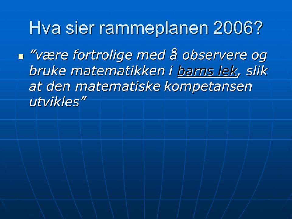 Hva sier rammeplanen 2006.